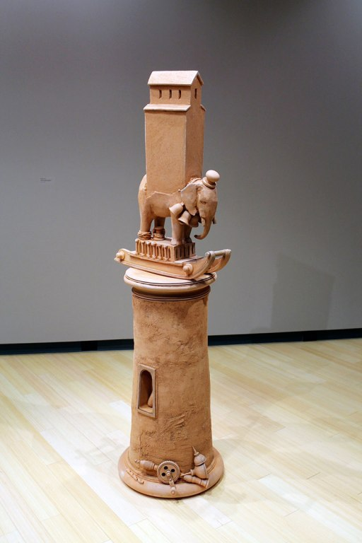 "2011, Unglazed hand-built ceramics, fired to cone 1 in reduction, 78""x 21""x 21"""