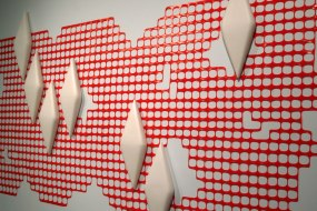 """porcelain, slipcast and burnished. Cone 04 oxidation. Plastic construction barrier. 60"""" x 96"""" x 4"""". 2011"""
