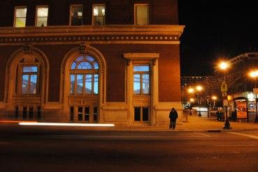 Margins: Louisville, rear projected video projection, vellum, Land of Tomorrow, Louisville, KY
