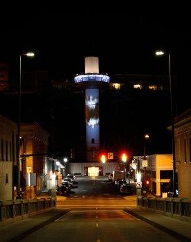 Illuminate Oregon City Elevator: public commission, mapped video projection on car