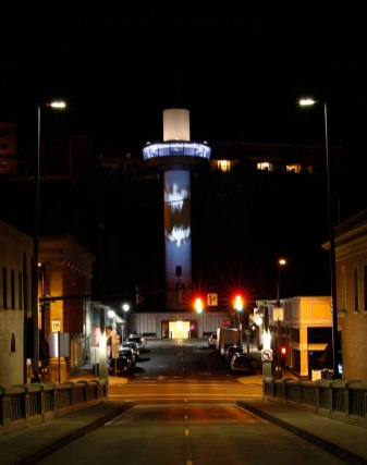 Illuminate Oregon City Elevator: public commission, mapped video projection on car