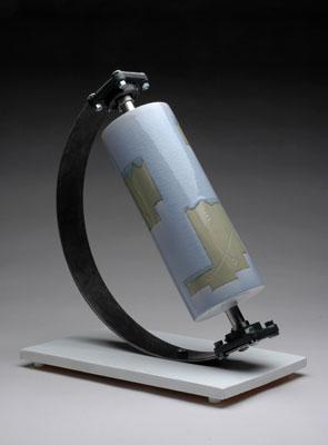 """19 x 11 x 14"""", porcelain, inlay, glaze, steel, 2006"""