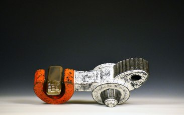 """2013, 6"""" x 14.5"""" x 7"""", Terra Cotta and Slip Cast Porcelain, Glazes and Cold Glazes. Hand Built and Slip Cast, with press mold Additions. Raku fired and fired to cone 6."""
