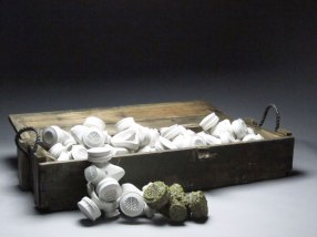 """2012, 9"""" x 37.5"""" x 24"""", Slip Cast Porcelain, Wood, and Glaze. Fired to cone 10 and cone 6."""