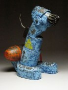 """2012, 21 ¾"""" x 15"""" x 13"""", Earthenware, Hand Built, Press Mold additions, Rubber, Conduit, Steel, and Enamel Paints. Fired to cone 6."""