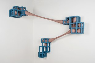 """Ceramic, unfired clay, wire and paint, 59"""" x 24"""" x 51"""", 2011"""