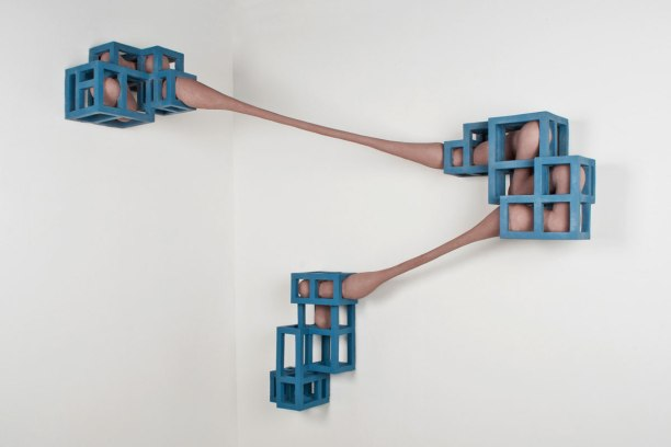 "Ceramic, unfired clay, wire and paint, 59"" x 24"" x 51"", 2011"