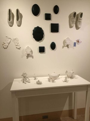 """H 5'x W 4'x D 20"""", cast and hand built porcelain, found objects 2016"""