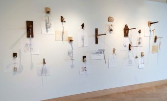 "H 6'x W 8'x D 20"", cast and hand built porcelain, wood, string, pencil on paper 2014"