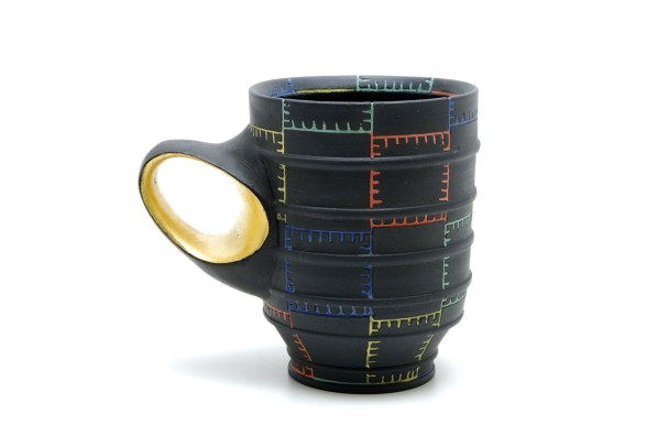 black porcelain, inlaid color slip, gold luster, cone 8, electric fired, 2015