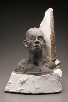 wood-fired stoneware, plaster and mixed media, 17x21x10, 23x19x10 in