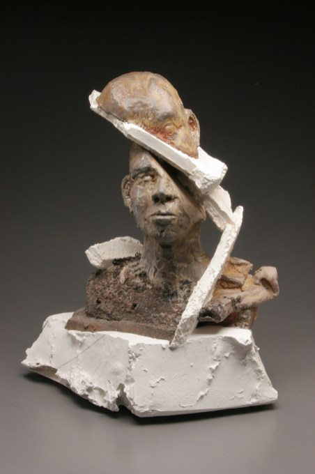 wood-fired stoneware, plaster and mixed media, 17x21x10, 23x17x11