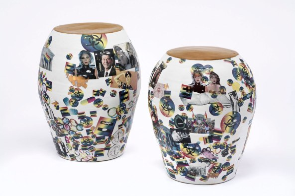 """Porcelain, decals, gold luster, 17 x 19"""" and 17 x 21"""", 2014"""