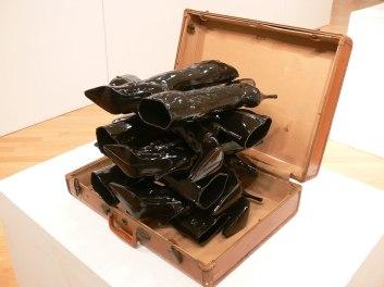 """Ceramic, Found Object: Suitcase, 36"""" x 16""""x 32"""" 2014"""