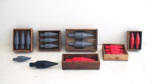 "ceramic with wood, 10"" x 7"" x 5"" each, 2007"