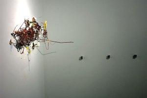 "Benjamin Demott, ""Elegy of the Music Box Umbrella"", 2008, dimensions variable, terracotta, paint, glitter, altered music boxes"