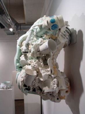 """Untitled (Right Side View), 27""""h x 21""""w x 16""""d, post-consumer ceramic found objects, porcelain, glaze"""