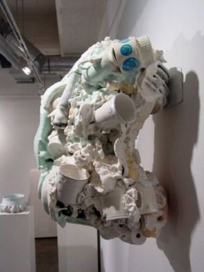"Untitled (Right Side View), 27""h x 21""w x 16""d, post-consumer ceramic found objects, porcelain, glaze"