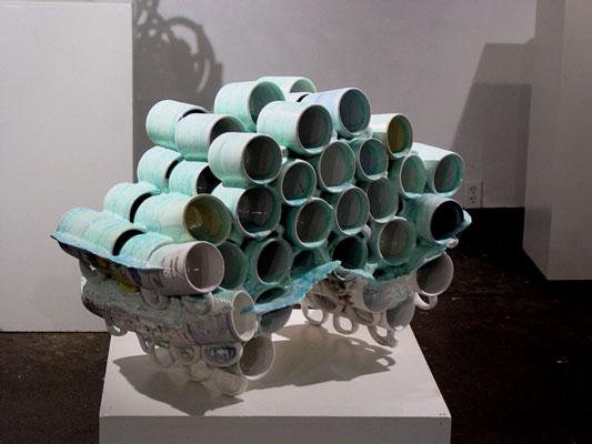 "Untitled (Zero), 20""h x 33""w x 18""d, post-consumer ceramic found objects and glaze, 2007"