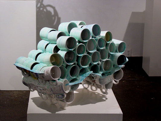 "Untitled (Zero), 20""h x 33""w x 18""d, post-consumer ceramic found objects and glaze, 2007"
