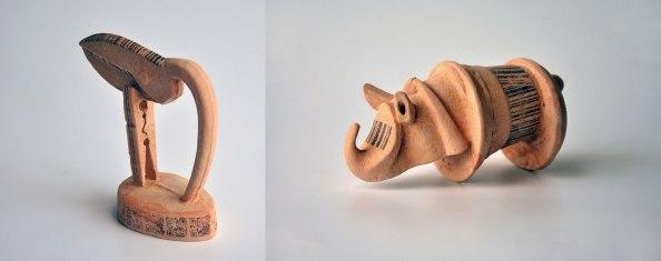 Angobes, uderglaze prints. Slip cast, handbuilt. Various sizes