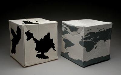 "16 x 16 x 16"" each, stoneware, terra sigillata, acrylic, 2005"