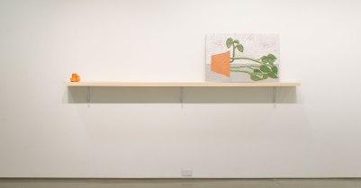 Ceramic, Found shelf, 30 x 112 x 10in, 2016
