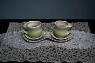 "cone six matte crystalline-glazed porcelain, 6"" x 13"" x 5"" (pots)"