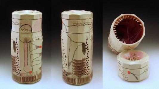 "11"" h x 5"" w, porcelain, decals and silk thread, 2013"