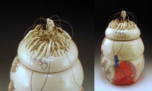 """12"""" h x 6.5"""" w, porcelain, decals, white gold luster and wire, 2013"""
