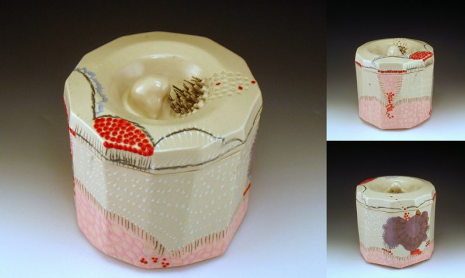 """6.5"""" h x 5.5"""" w, porcelain, decals and wire, 2013"""