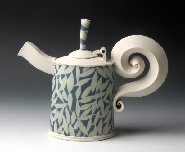 Teapot with Hinged Lid, hand-built with slabs and extruded elements, white stoneware, stenciled cobalt and chrome slips, cone 10 reduction, 10 inches tall, 2014