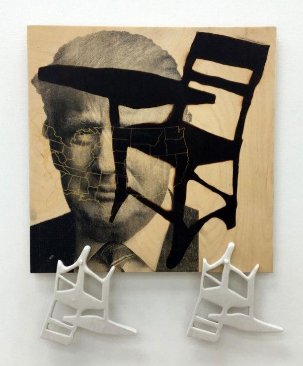 "wood panels, paint, porcelain chairs, decals, 10""x 25"" 2017"