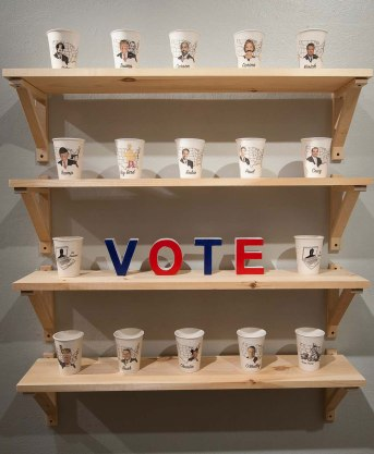 """porcelain party cups, stop motion video, screen printed posters 37""""x 46"""""""