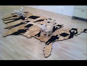 porcelain chairs, wooden puzzle maps, paint. 10'x 6' 2016