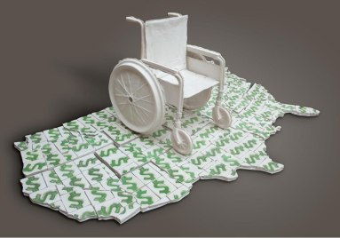 press mold, cast porcelain wheel chair, press mold money tiles. 10'x 5'x 4.5'. 2010