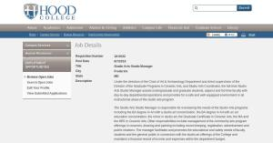 Hood College job posting screenshot