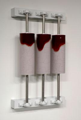 """23 x 38 x 8"""", porcelain, inlay, glaze, steel, 2006"""