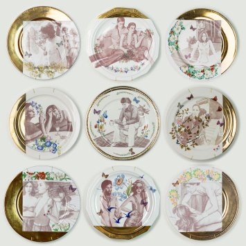 Found and altered porcelain, plates, decals and luster, 2016
