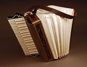 "Re-evaluated Piano Accordion, Porcelain, Wood, Leather, H23""x W33""x D18"""