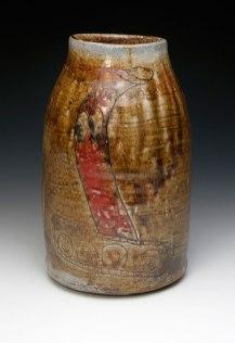 "War Crock (#lizardbrain), War Crock (#forEhrenTool) ceramic, wood soda fired, 22x9x9"", 2013 War Crock (#lizardbrain) ceramic, wood soda fired, 16x8x8"""