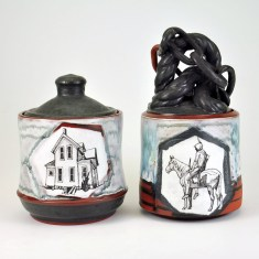 "Terracotta, glaze, china paint enamel, 4""x4""x 8"", 2016"