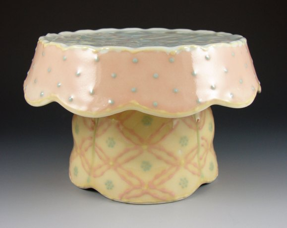 "Wheel-thrown and assembled porcelain, colored slips and glaze, cone 6 - 10""x10""x9"""
