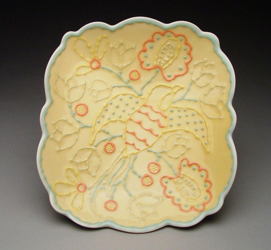 "Slab-built porcelain, colored slips and glaze, cone 6 - 13""x9""x2"""