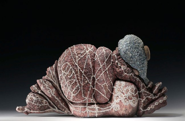 """Morocco, 29""""l.x14""""h.x8""""d. Multi- fired ceramic with sequins. 2012"""
