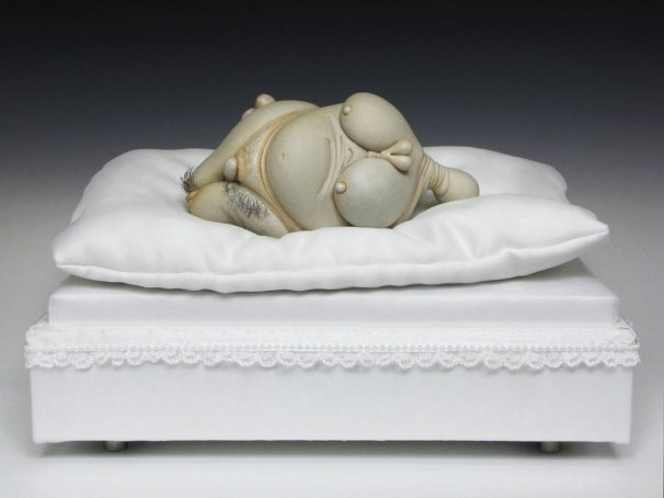 "Pearl, porcelain, hair, nail polish, steel (base: satin), 12"" x 8"" x 7"", 2012"
