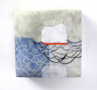 Ceramic, stains, gouache, gesso, pencil, encaustic, cold wax, 8 x 8 x 3""