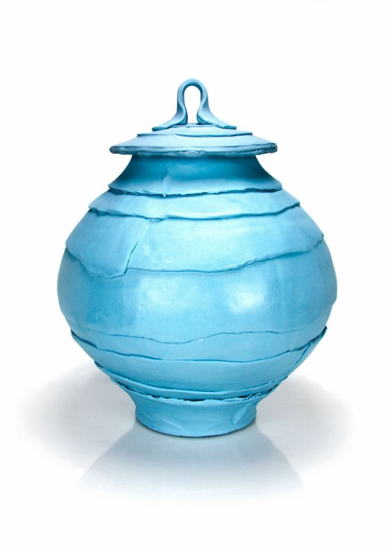 "Justin Donofrio, ""Robins Egg Covered Jar: Colored Porcelain"""
