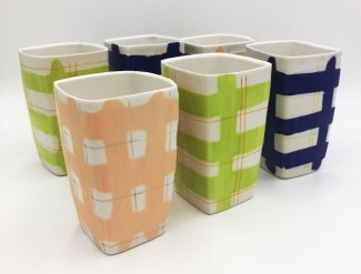 "Jana Evans, ""Water-Etched Plaid Tumblers"""