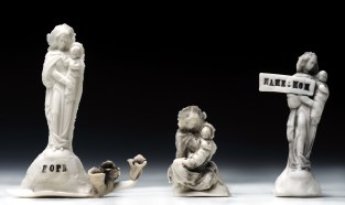 "Slip cast porcelain, glaze and wood, Figures 1-3"" tall. Full installation- 36"" x 48"" x 3.5"""